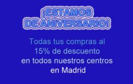 ¡Todo al 15% de descuento en nuestros centros de Madrid!